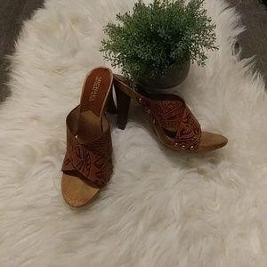 Leather Printed Heel Sandal